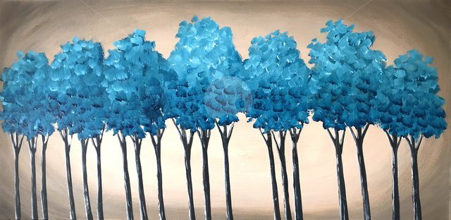 Image of Teal Blue Trees 2