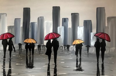 Image of Red And Golden Umbrellas
