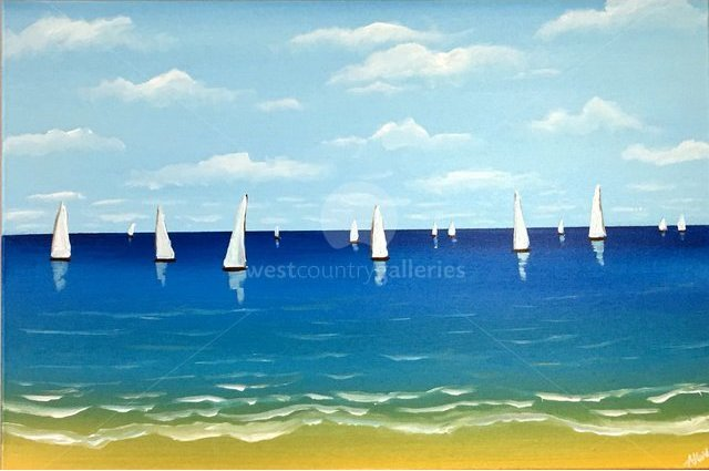 Image of sailing in the blue sea