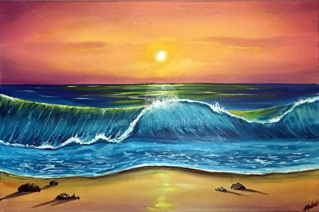Image of sunset waves