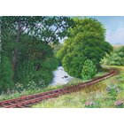 Image of Railtrack beside a river - giclée print