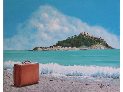 Pat Harrison - Painting of a wave almost touching a suitcase on the beach opposite St.Michael´s Mount in Cornwall.   Signed limited edition print of 100. Overall size of the mount 40x30cm. Image size 30x20cm. Other sizes or commissioned work available upon enquiry.
