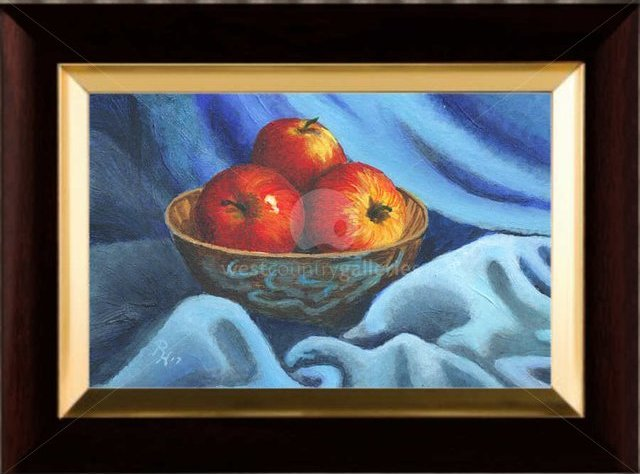 Image of Apples on blue Cloth, original