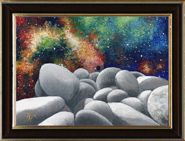 Image of pebbles in space, original