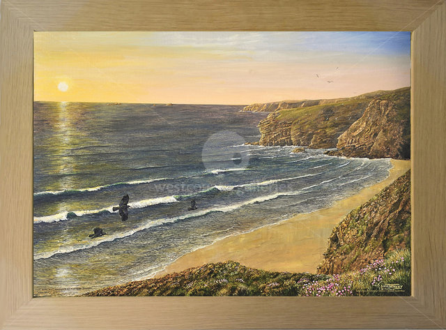 Image of Atlantic Sunset - Cornish Choughs at Home - Stem Point, Watergate Bay, nr. Newquay, Cornwall