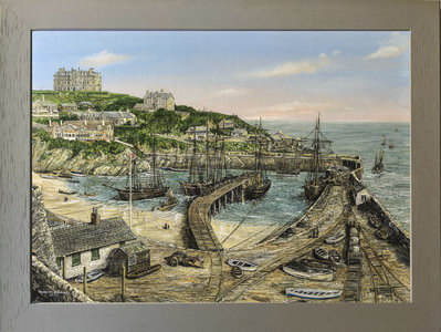 Image of Busy Morning - Newquay Harbour 1908, Newquay Cornwall