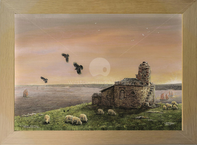 Image of Cornish Sunrise 1890 - Choughs over the Huer's Hut, Towan Head, Newquay Bay, Cornwall