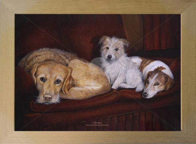 Image of The Boys, Benson, Whiskey & Waster - The Artist's Rescue Dogs now residing in the big kennel in the sky.
