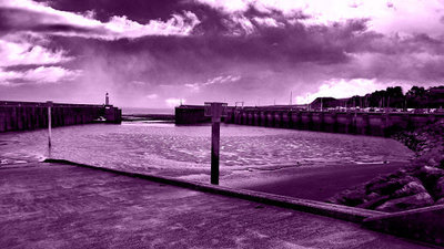 Image of Watchet Harbour - Storm Approach (Purple Haze)