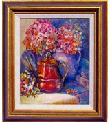 Image of The Copper Teapot with Hydrangeas.