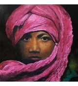 Image of Pink Turban - Limited Edition print on box canvas