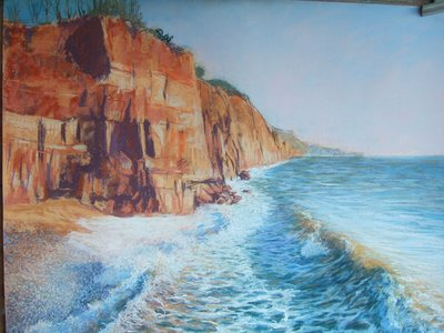 Cliff and breaking wave - SOLD